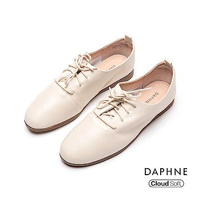 達芙妮DAPHNE 休閒鞋-真皮綁帶拚接牛津平底休閒鞋-米白