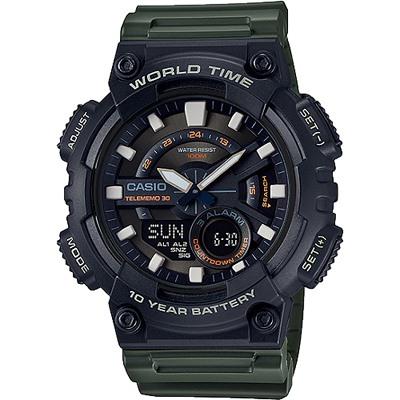 CASIO 10年電力指針數位雙顯錶款-黑X墨綠(AEQ-110W-3A)/46mm