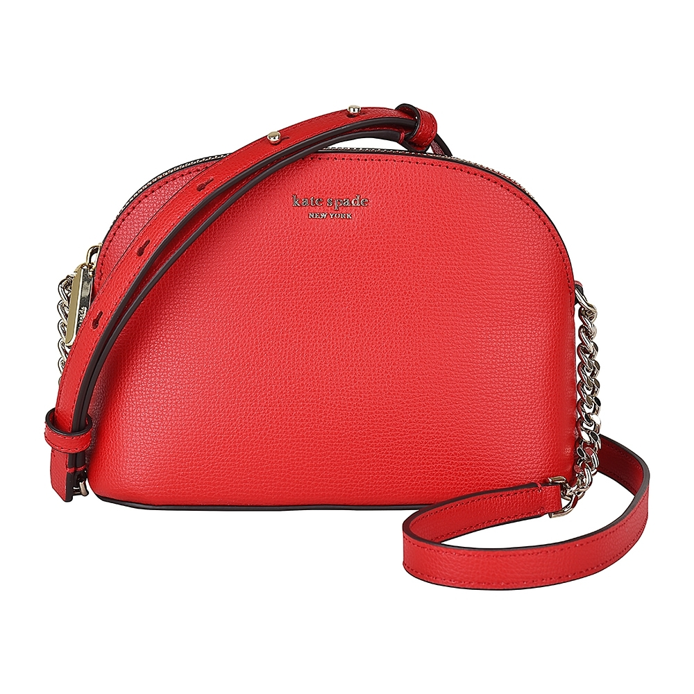 Kate Spade Sylvia 金屬LOGO弧形牛皮拉鏈斜背包(紅)