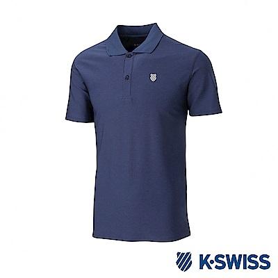 K-SWISS  PF Solid Polo排汗POLO衫-男-藍