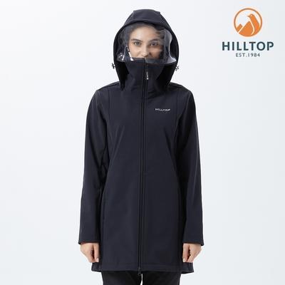 【hilltop山頂鳥】女款ViralOff抗菌防水長版刷毛防護外套H21F21 黑