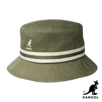 KANGOL-STRIPE水洗棉質漁夫帽-苔綠色