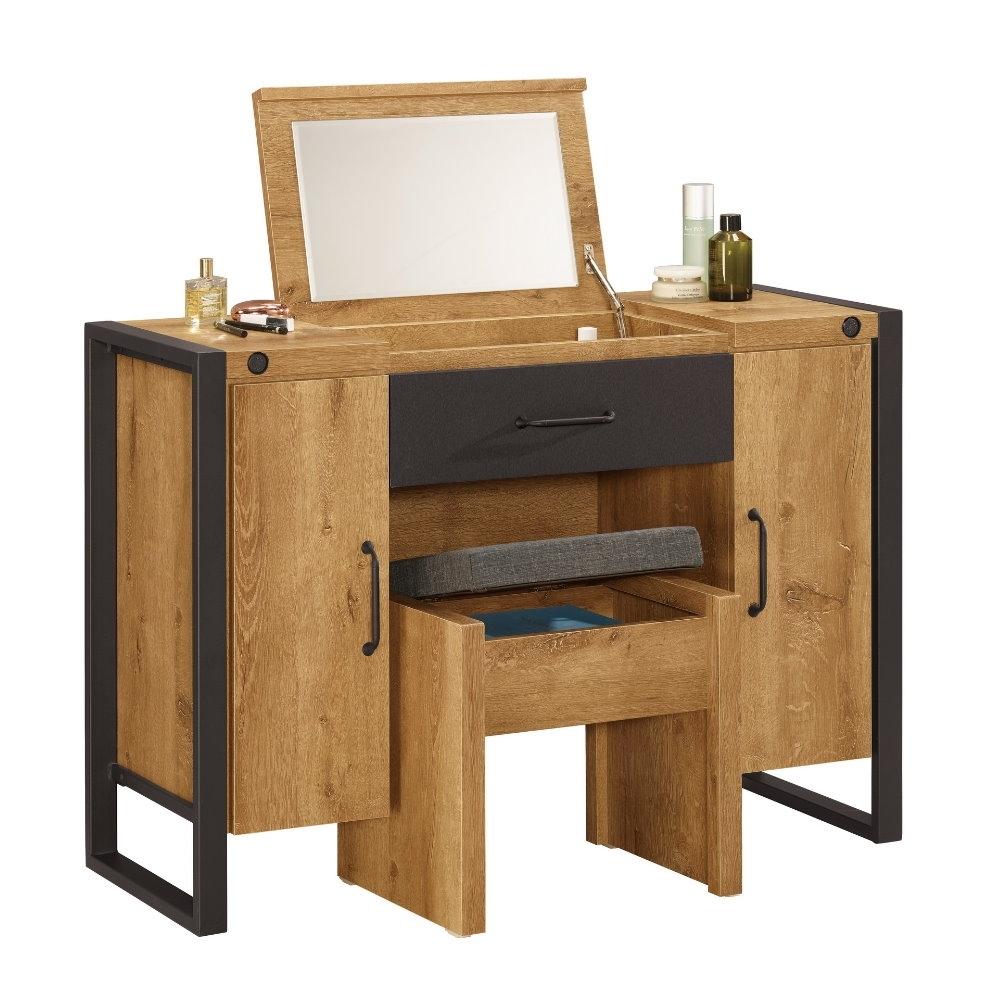 MUNA 布朗克斯3.5尺掀鏡化妝台/鏡台(含椅)  106X40X75cm