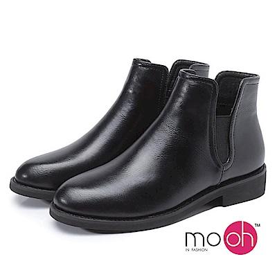 mo.oh 鏤空套腳低跟切爾西短靴-黑色