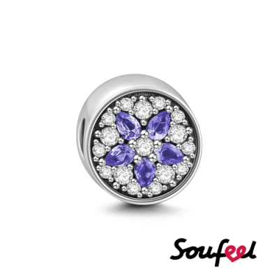SOUFEEL索菲爾 925純銀珠飾  紫色花朵 串珠