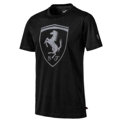PUMA-男性法拉利經典系列大盾牌短袖T恤-黑色-歐規