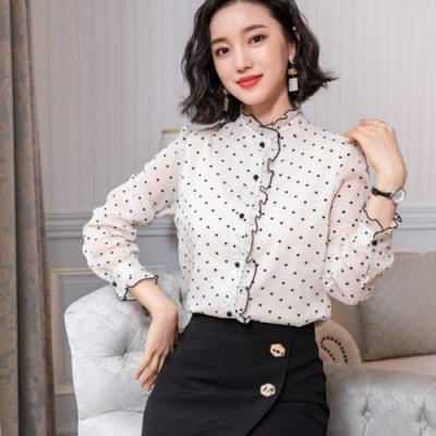設計所在Lady-雪紡襯衫長袖寬鬆時尚植絨上衣荷葉邊(二色M-3XL可選)