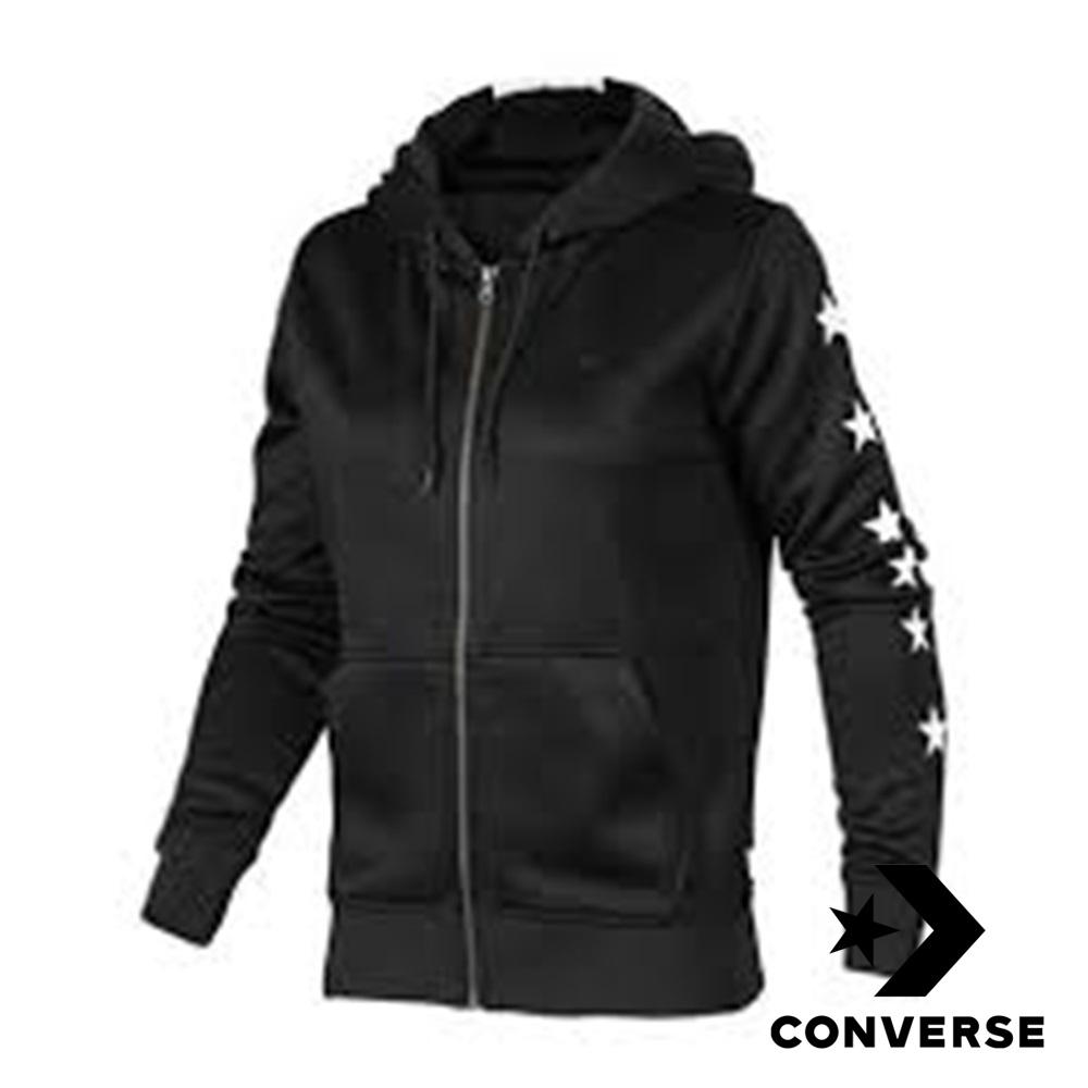 CONVERSE-女休閒連帽外套-黑-10004493-A01