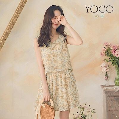 東京著衣-YOCO 清新度假風滿版花卉縮腰洋裝-S.M.L(共兩色)