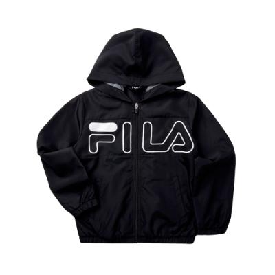 FILA KIDS 童連帽風衣外套-黑色 1JKT-8911-BK