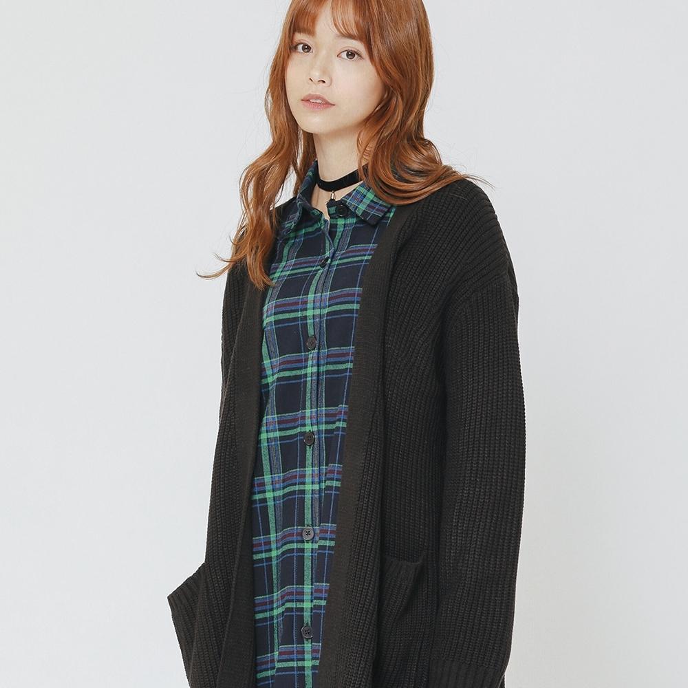 H:CONNECT 韓國品牌 女裝-柔軟開襟口袋針織外套-黑(快)