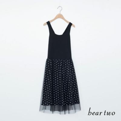 beartwo 交叉肩帶點點裙洋裝-黑