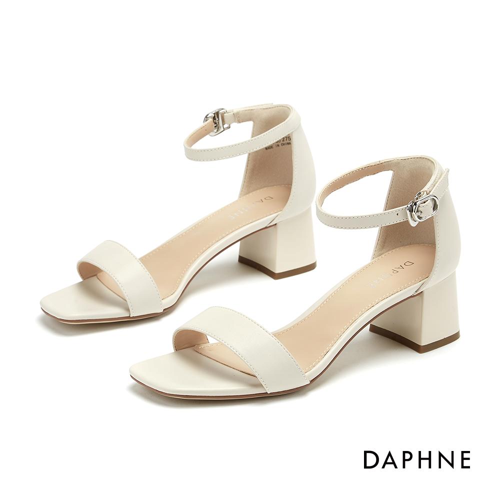達芙妮DAPHNE 涼鞋-簡約一字帶方頭繫踝粗跟涼鞋-米色