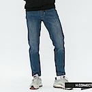 H:CONNECT 韓國品牌 男裝-微磨破鬆緊綁帶牛仔褲-深藍