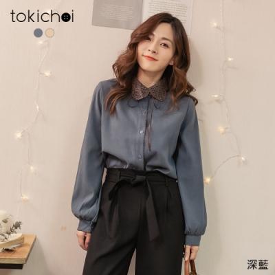 東京著衣 特別精緻鏤空雕花領排釦磨毛上衣