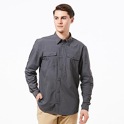【HAKERS 哈克士】男 抗UV快乾長袖襯衫-石黑灰