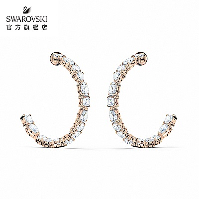 SWAROVSKI 施華洛世奇 Tennis Deluxe 玫金色時尚閃耀穿孔耳環