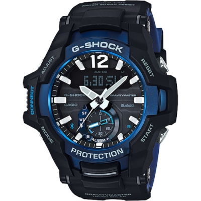 CASIO 卡西歐 G-SHOCK 飛行員太陽能藍牙手錶-藍(GR-B100-1A2)