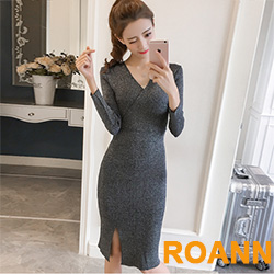 交疊V領開衩亮絲針織洋裝 (共二色)-ROANN