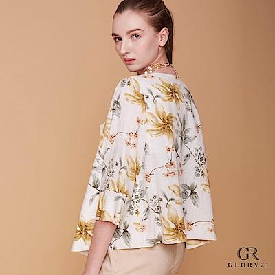 GLORY21-印花七分袖短版外套
