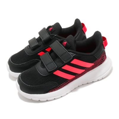 adidas 慢跑鞋 Tensaur Run I 運動休閒 童鞋 愛迪達 魔鬼氈 輕量 球鞋 小童 黑 紅 FW4137