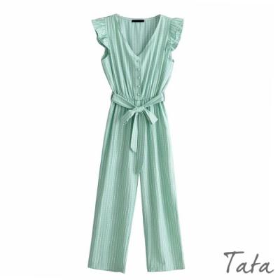 條紋荷葉連身褲(附綁帶) TATA-(S/M)