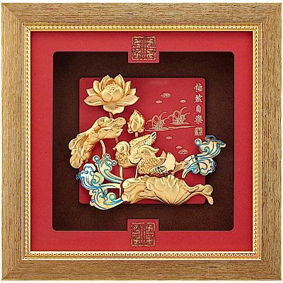 純金祥和金箔畫系列~【怡然自樂 鴛鴦戲水】....24 x24 cm
