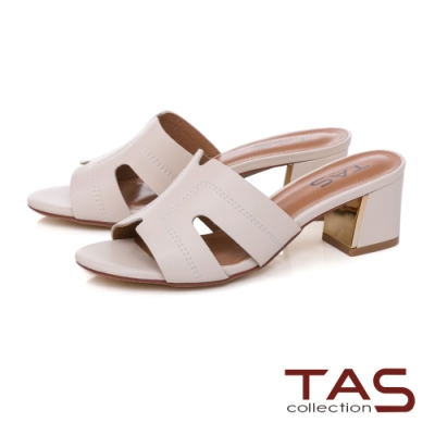 TAS鏤空剪裁粗跟涼拖鞋-人氣米