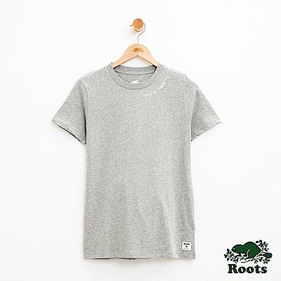 女裝Roots 立體刺繡短袖T恤-灰