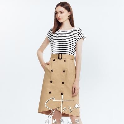 SO NICE摩登條紋拼接假兩件式洋裝