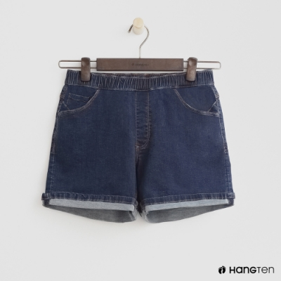 Hang Ten-童裝-鬆緊捲邊牛仔短褲-深藍