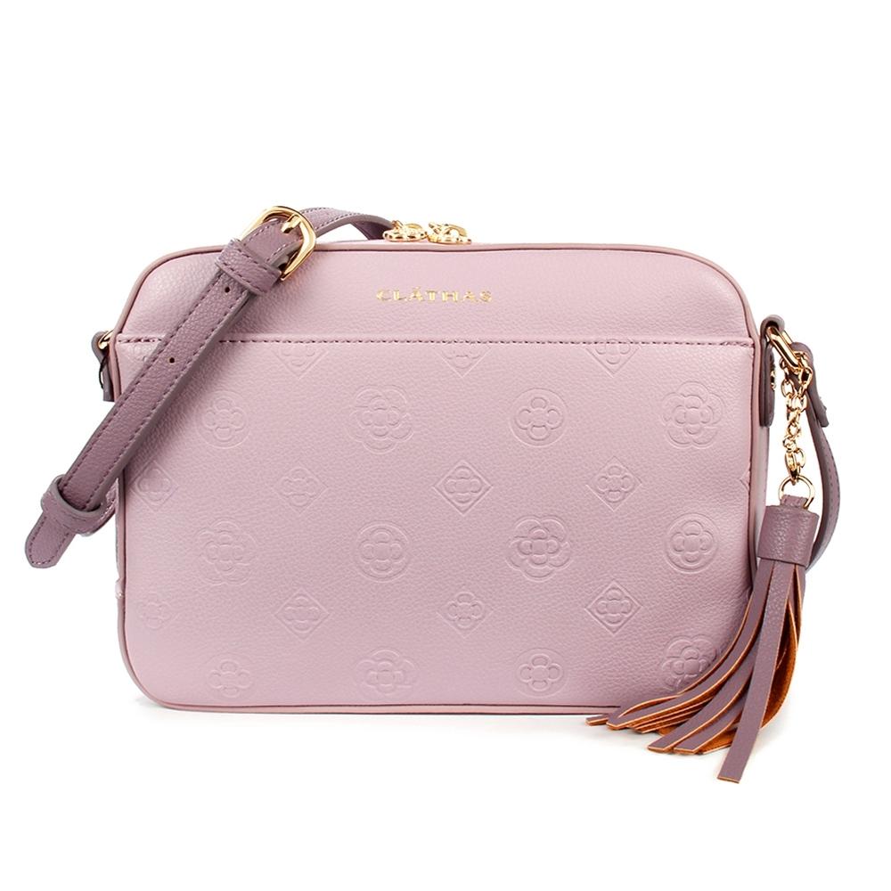 CLATHAS 山茶花烙印流蘇裝飾質感皮革燙金LOGO斜背包-粉紫色