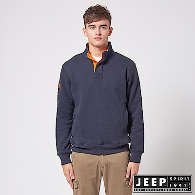 JEEP 簡約俐落休閒長袖TEE -藍色