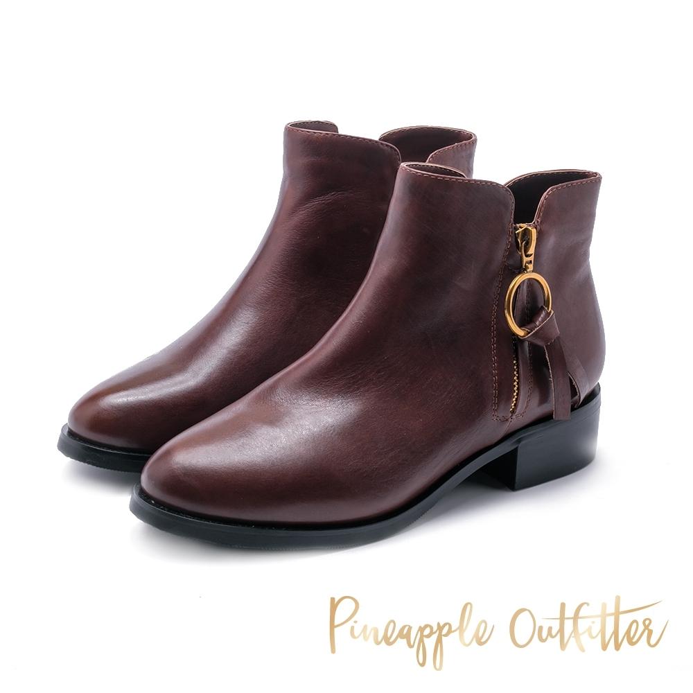 Pineapple Outfitter-BALDER 真皮尖頭拉鍊短靴-棕色