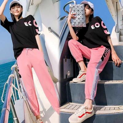 【韓國K.W.】(預購)休閒字母印花休閒套裝褲-2色