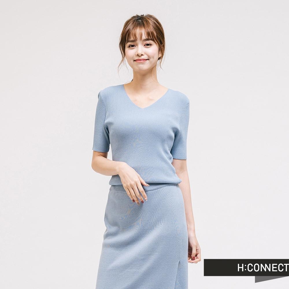 H:CONNECT 韓國品牌 女裝 - 合身羅紋上衣 - 藍