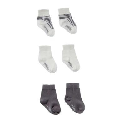 澳洲Purebaby有機棉新生兒棉襪三件組-<b>3</b>~<b>12</b>月嬰兒襪
