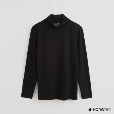 Hang Ten - 男裝 -ThermoContro-素面運動機能高領長袖上衣-黑