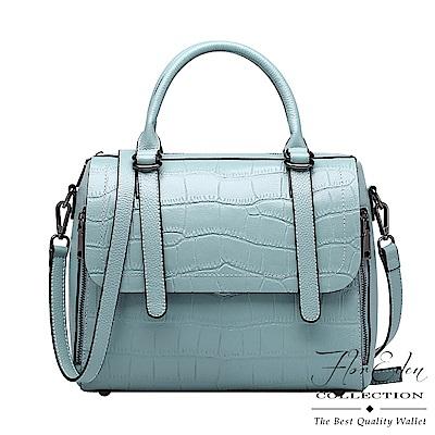 DF Flor Eden - 大韓風潮單色浪漫頭層牛皮手提斜背包-淺藍