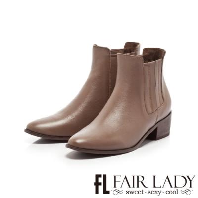 FAIR LADY 全真皮縫線拼接切爾西粗跟短靴 可可