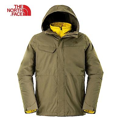 The North Face北面男款綠色防水透氣三合一夾克|2UC32WU