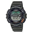 CASIO 海釣者專屬!10年電力設計數位電子錶-墨綠(WS-1200H-3A)/48.6mm