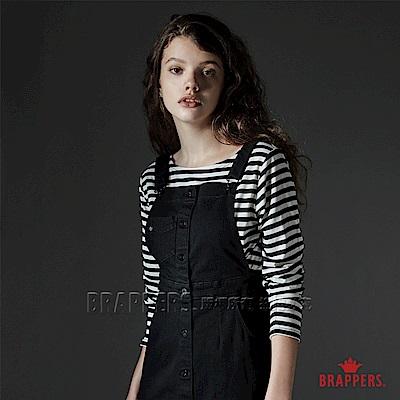 BRAPPERS 女款 船型領條紋T-黑白條