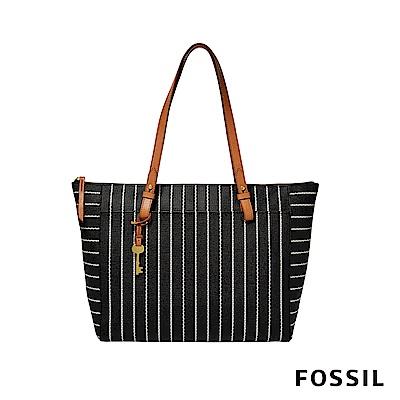 FOSSIL RACHEL PVC 防水托特包-心型條紋