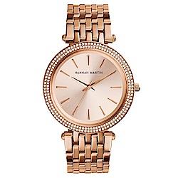 HANNAH MARTIN 點睛品雙圈鑲鑽不鏽鋼腕錶(HM-1185-R)玫瑰金x40mm