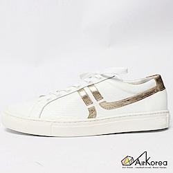 【AIRKOREA韓國空運】真皮正韓拼接線條設計微增高休閒鞋-白金