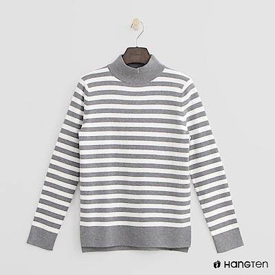 Hang Ten - 女裝 - 微高領條紋針織上衣-灰 @ Y!購物