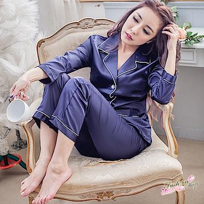 睡衣 居家性感睡衣 長袖睡衣仿真絲好質感性感睡衣 流行E線