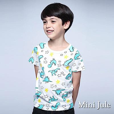 Mini Jule 童裝 上衣 綠恐龍星星短袖棉T(白)