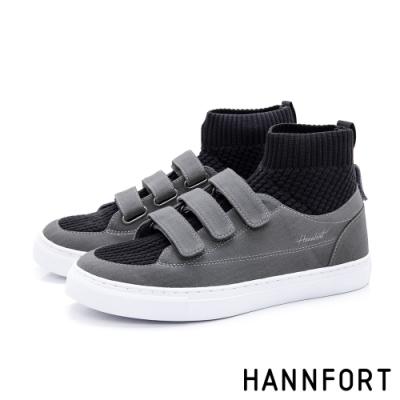 HANNFORT CAMPUS  帆布魔鬼氈針織襪套靴-女-灰